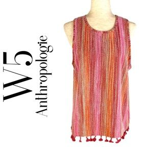 W5 / ANTHROPOLOGIE BOHO PINK STRIPE TANK M